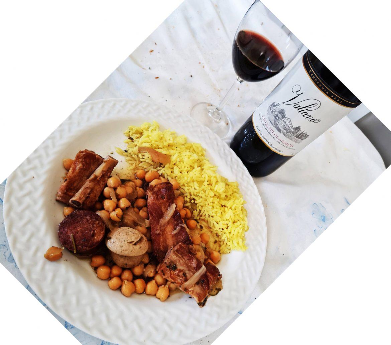 Puchero e vinho Valiano Chianti